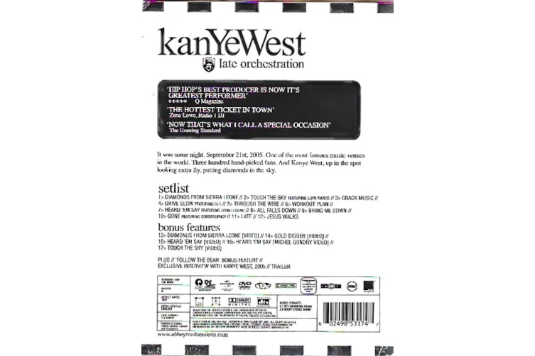 KANYE WEST LATE ORCHESTRATION -Music Region All Rare- Aus Stock Preowned DVD: DISC LIKE NEW