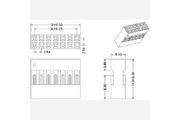 """0.1"""" (2.54mm) Crimp Connector Housing: 2x4-Pin 10-Pack"""