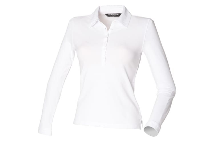 Skinni Fit Ladies/Womens Long Sleeve Stretch Polo Shirt (White) (S)