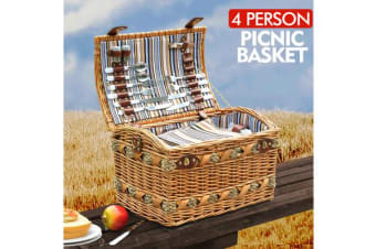 Wicker 4 Person Picnic Basket with Folding Handle BA2013
