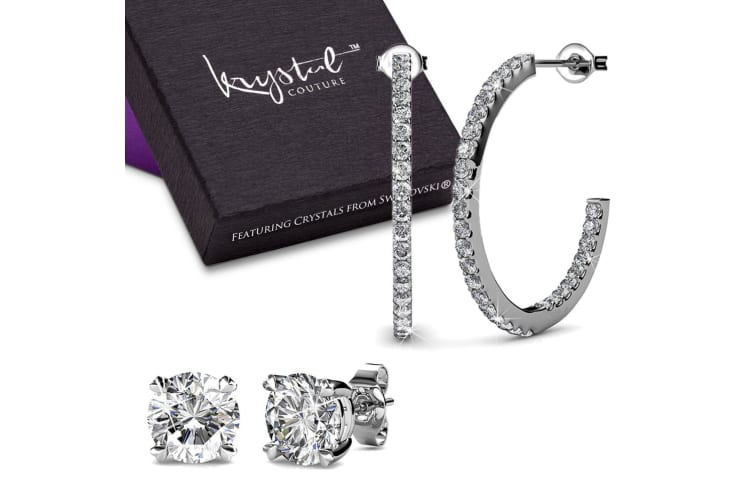 Boxed 2 Pairs Earrings Set Embellished with Swarovski crystals