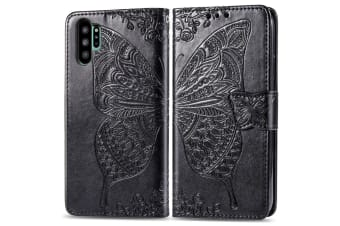 For Samsung Galaxy Note 10+ Plus Case Black Butterfly Flowers PU Leather Cover