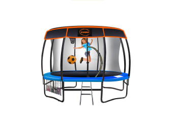 Kahuna Trampoline 12 ft with Basket ball set and Roof-Blue