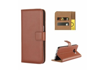 For Samsung Galaxy S8 Wallet Case  Shielding Slim Leather Cover Brown