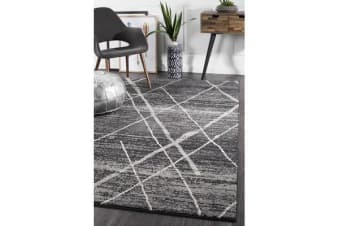 Amelia Charcoal & Grey Abstract Durable Rug 290x200cm