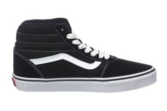 Vans Men's Ward Hi Suede Canvas Shoe (Black/True White, Size 7 US)