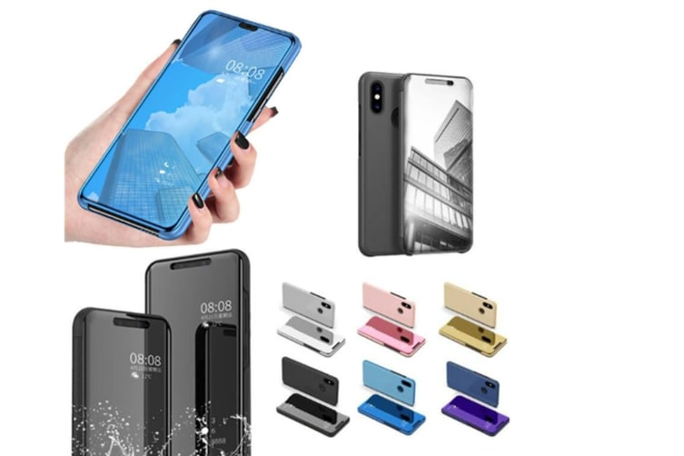 Mirror Case Translucent Flip Full Protection Mobile Phone Stand For Xiaomi Black Xiaomi5C