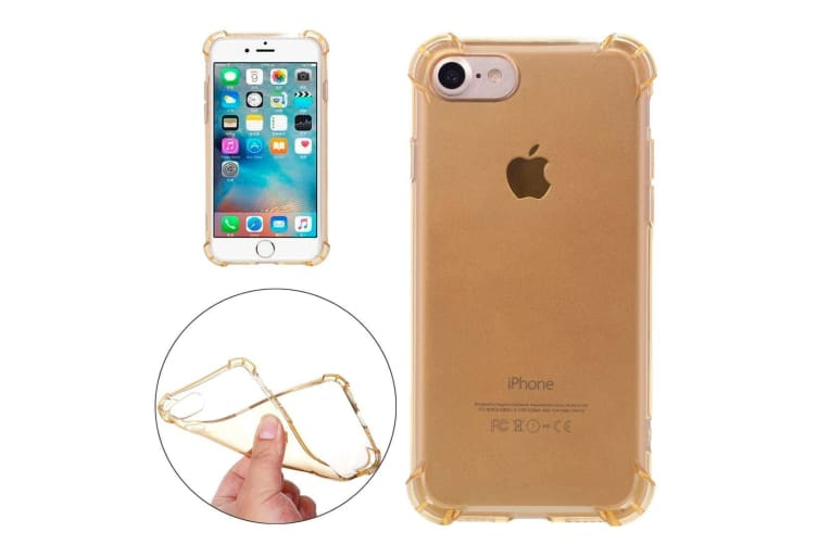 For iPhone 8 7 Case Stylish Transparent Cushions Grippy Protective Cover Gold