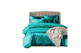 DreamZ 1000TC Silk Satin Duvet Cover Set in Single Size in Teal Colour  -  TealSingle