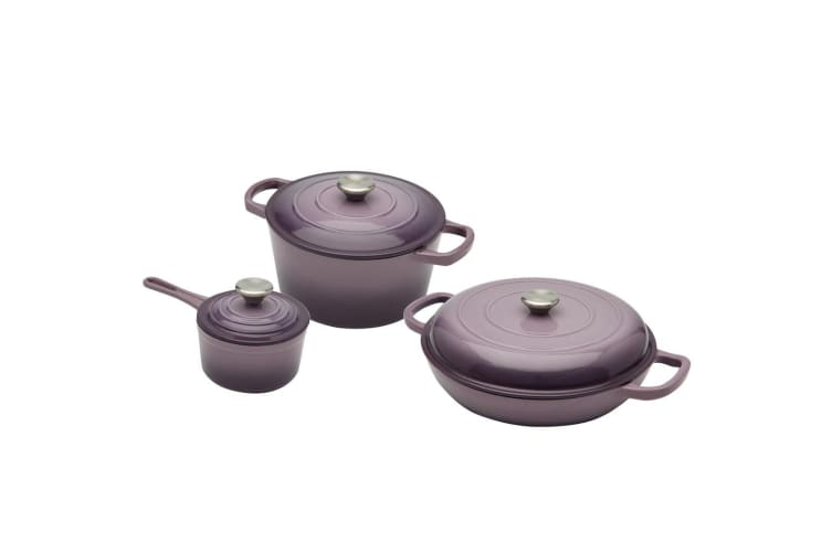 New XANTEN Cast Iron 6pc Cookware Set Purple Dutch Oven Round Casserole Saucepan