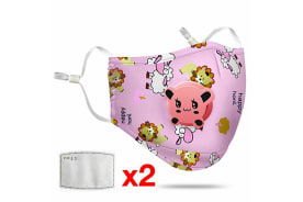 Pink Washable Reusable N95 Anti Air Pollution Face Mask With Respirator &2 Filters for Kids-1 Pack