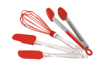 Flavorstone 4 Piece Silicone Utensil Set - Red