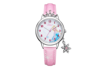 Select Mall Cute Winter Romance Watches Shiny Crown Princess Watches Snowflake Pendant Decorative Quartz Watches for Kids-Pink