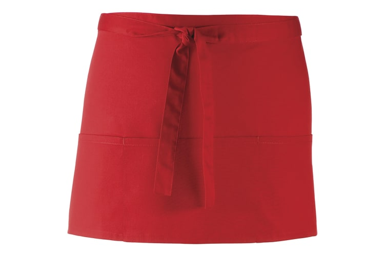 Premier Ladies/Womens Colours 3 Pocket Apron / Workwear (Red) (One Size)