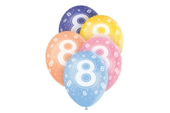 Unique Party 12 Inch Birthday Assorted Latex Balloons (Pack Of 5) (8 Multicoloured)