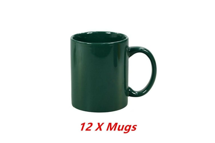 12 x Ceramic Can Mug Green Colour Coffee Mugs Drinking Tea Cup Tumbler Event Party
