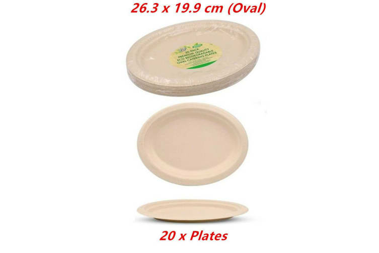 20 x Biodegradable Plates Oval Catering Eco Friendly Disposable Bamboo Bagasse