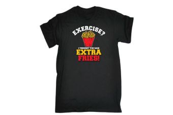 123T Funny Tee - Extra Fries - (X-Large Black Mens T Shirt)