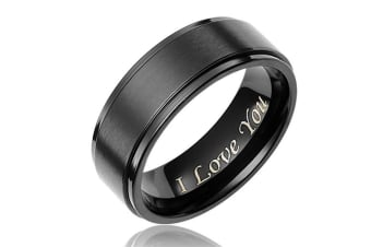 "Men's Titanium Ring Wedding Band Engraved ""I Love You"""