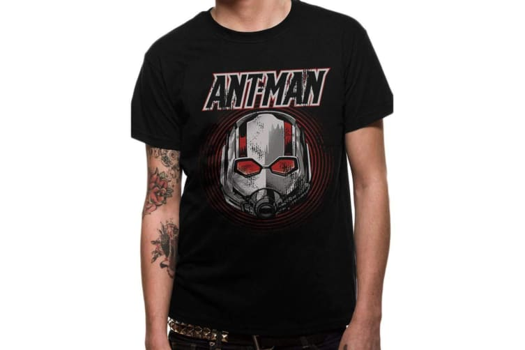 Ant-Man And The Wasp Unisex Adults Vintage Mask Design T-Shirt (Black) (M)