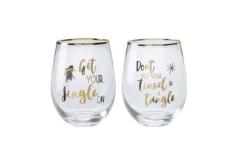 Maxwell & Williams Celebrations Stemless Glass 500ml Set of 2 Tinsel