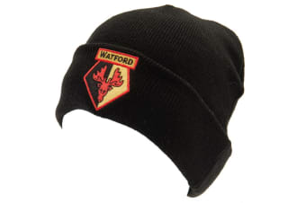 Watford FC Adults Unisex Knitted Hat (Black) (One Size)