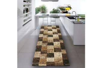 Patchwork Design Brown Runner Rug