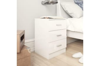 vidaXL Bedside Cabinet High Gloss White 38x35x65 cm Chipboard