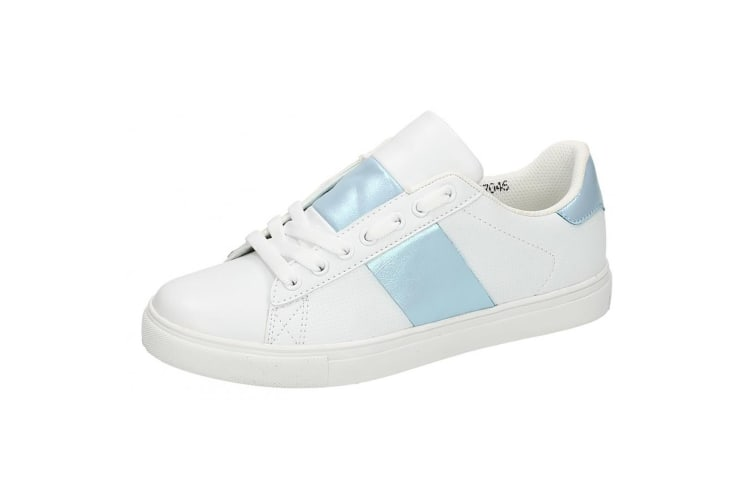 Spot On Womens/Ladies Lace Up Cemented Strip Trainers (White/Blue) (7 UK)