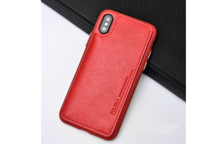 Retro Pu Flip Leather Wallet Case Card Slot Holder Cover Red for Iphone 7/8