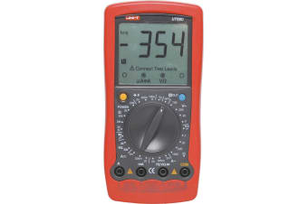 Digital multimeter on screen test lead connection prompts