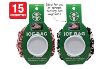 2 x Re-useable Ice Bag | Screw Lid Ice Pack First Aid Black Red 15cm