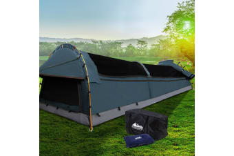 Weisshorn King Single Swag Camping Swags Canvas Tent Deluxe Aluminum Poles Navy