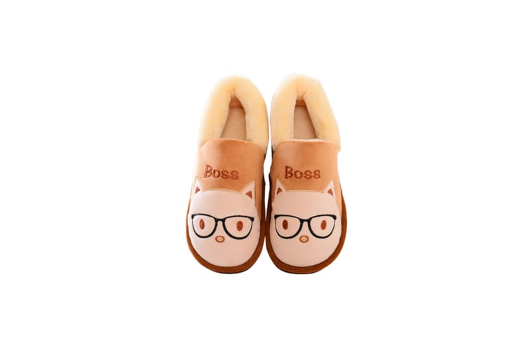 Cartoon Comfy Fuzzy Knit Cotton Memory Foam House Shoes Slippers - Coffee Brown 280Mm(42-43)