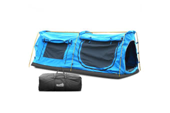 MOUNTVIEW Dome Camping Swags Mattress Canvas Tent Kings Pole Daddy Bag Blue