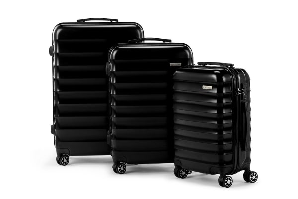 Orbis 3 Piece Capri Spinner Luggage Set (Black)