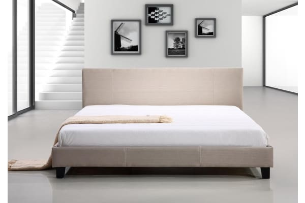 King Linen Fabric Bed Frame Beige