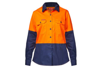 Hard Yakka Women's Koolgear Hi-Vis Long Sleeve Shirt (Orange/Navy, Size 18)