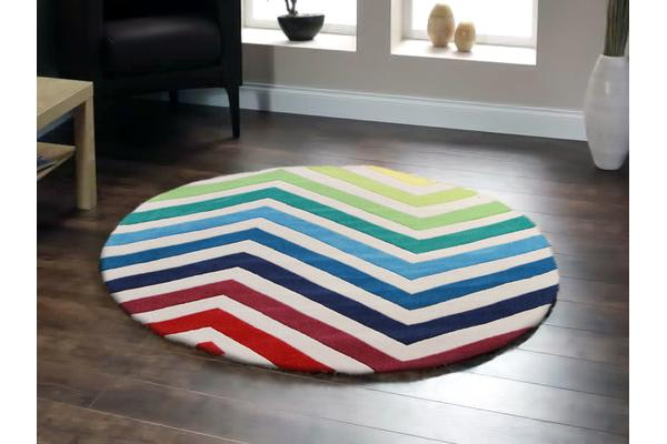 Chevron Multi Coloured Round Rug 200x200cm