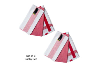 Set of 6 Dobby Cotton Tea Towels Red by J Elliot Home
