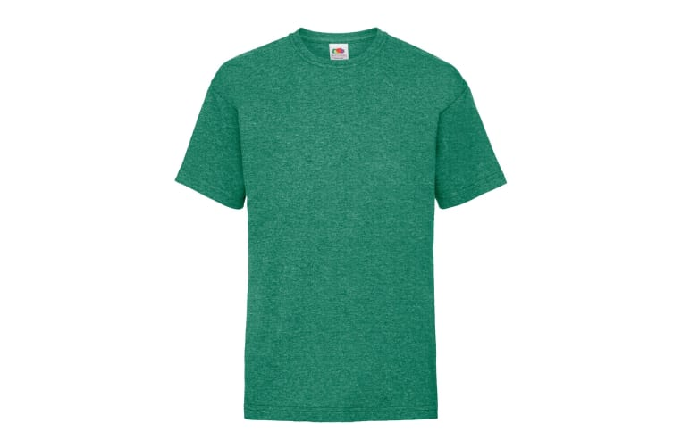 Fruit Of The Loom Childrens/Kids Unisex Valueweight Short Sleeve T-Shirt (Pack of 2) (Retro Heather Green) (12-13)