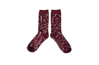 The Walking Dead Adults Unisex Adults Weapons Socks (1 Pair) (Maroon) (One Size)