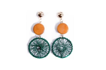 Women'S Simple Fashion Dreamcatcher Earrings Wood Earrings Brown