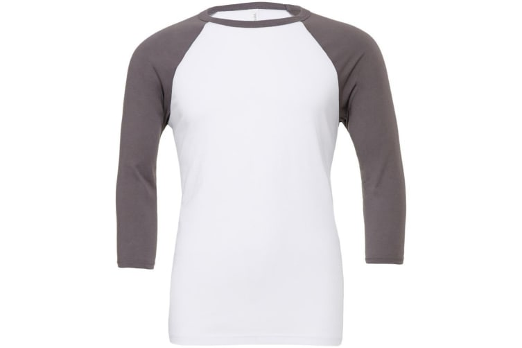 Canvas Mens 3/4 Sleeve Baseball T-Shirt (White/Asphalt) (S)