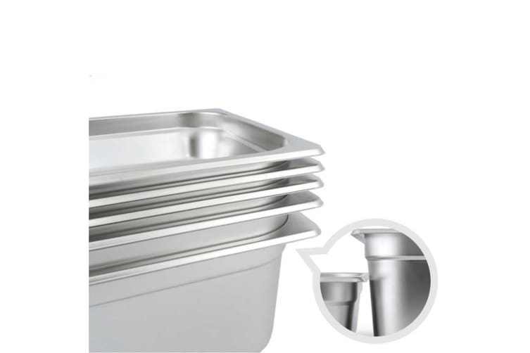 SOGA 6x Gastronorm GN Pan Full Size 1/3 GN Pan 150mm Stainless Steel Tray w/ Lid