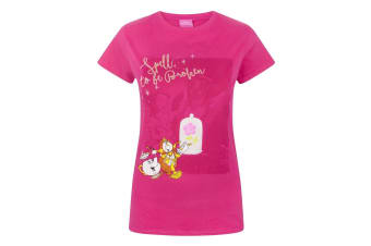 Disney Womens/Ladies Beauty And The Beast Spell To Be Broken T-Shirt (Pink)