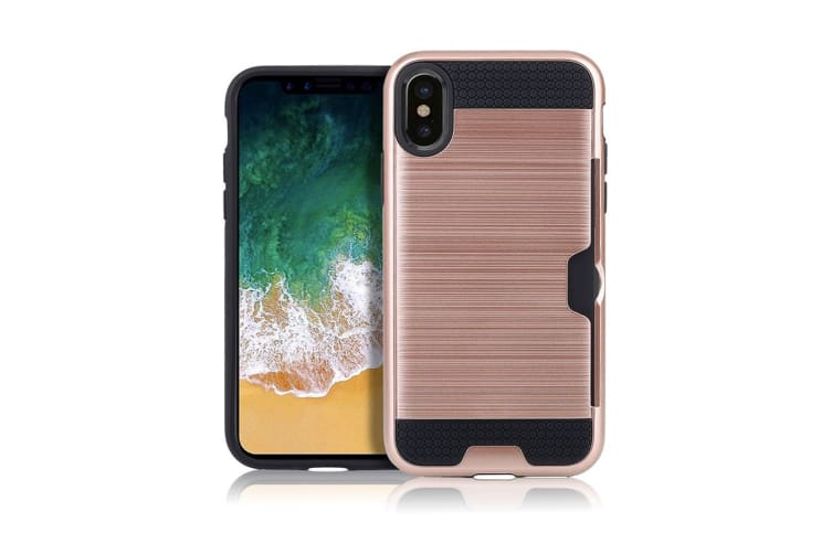 pretty nice bc3a4 0d80b For iPhone XS Max Case Rose Gold Brushed Texture TPU PC Protective Back  Cover