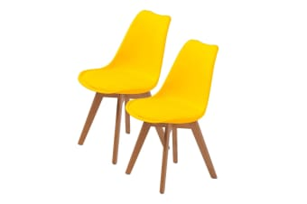 Replica Eames PU Padded Dining Chair - YELLOW X2