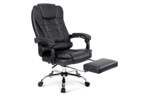 PU Leather Office Chair with Foot Rest (Black)