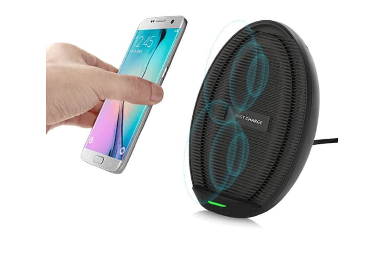 Black Ovoid Fan Fast Qi Wireless Charger For iPhone 11 For Samsung Note 10 10+